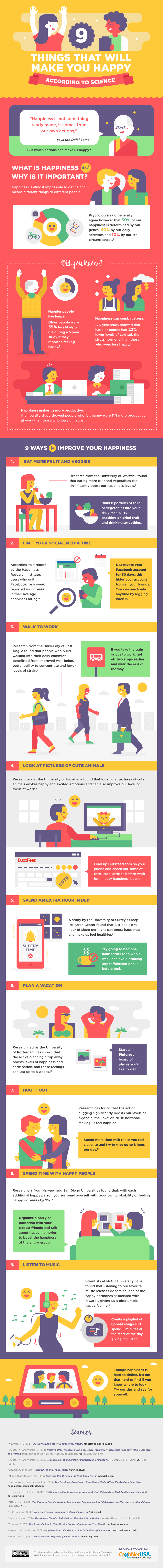 9 Steps To Becoming A Happy Person - Infographic