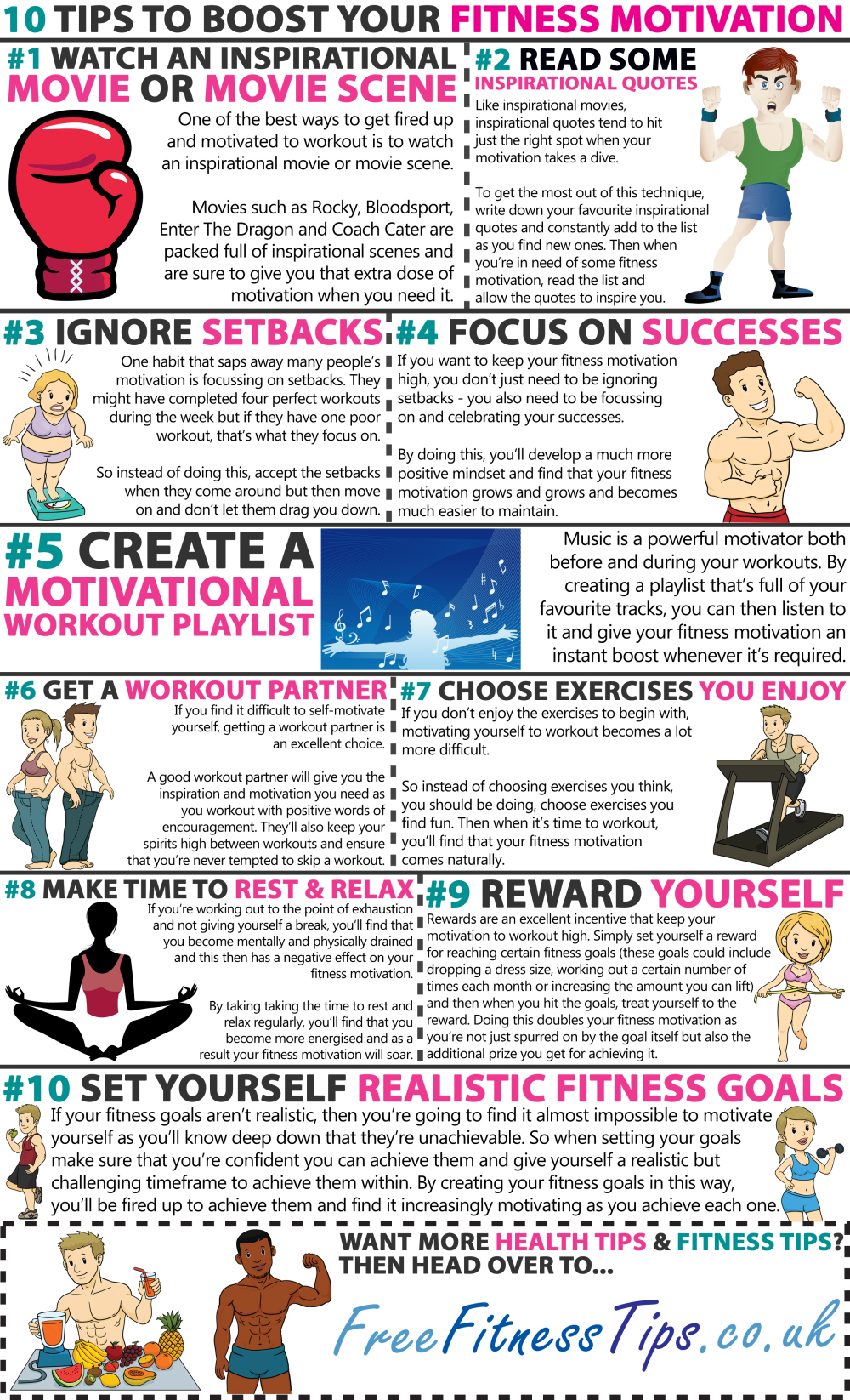 10 Motivation Tips to Lift Your Fitness Program - Infographic