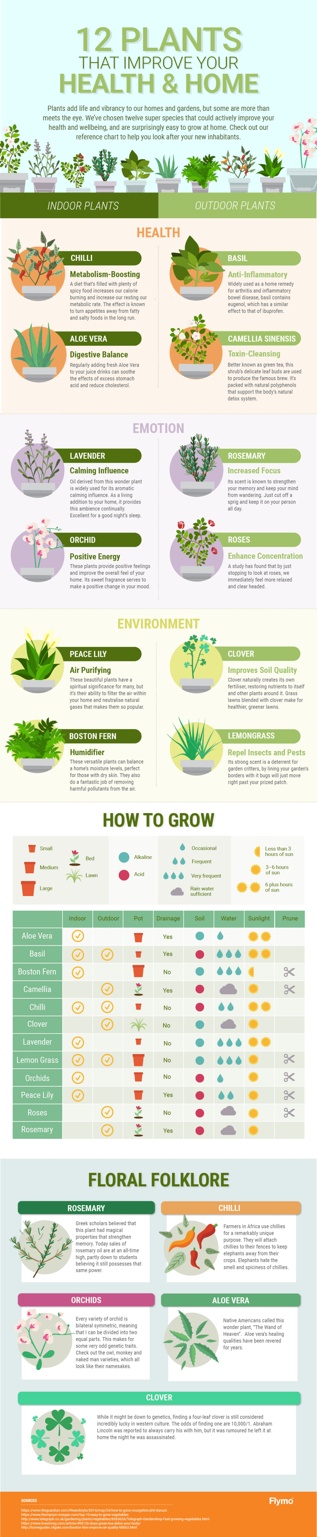12 Plants that Boost Health and Environment - Infographic