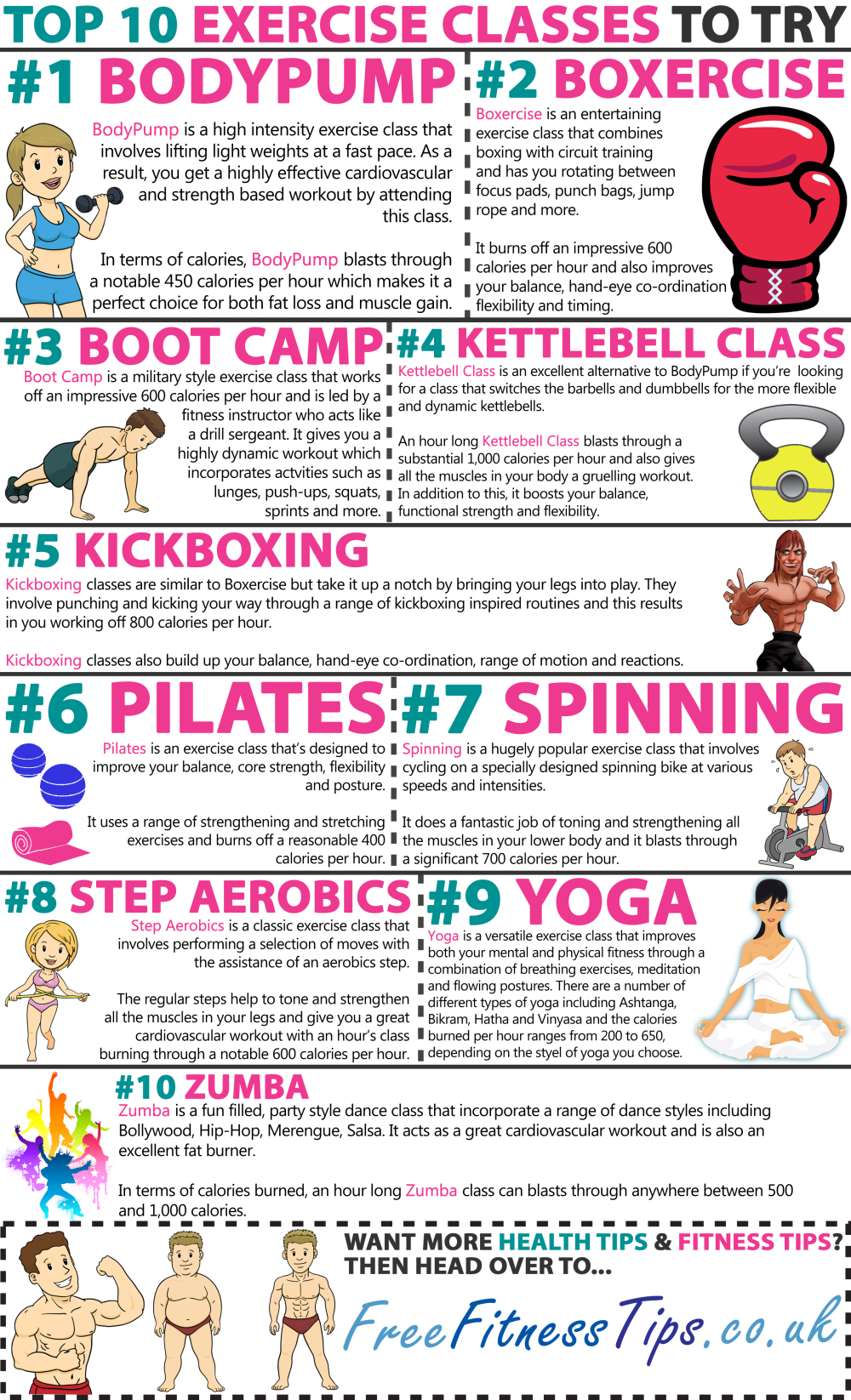 10 Fitness Classes: What's Your Exercise? - Infographic
