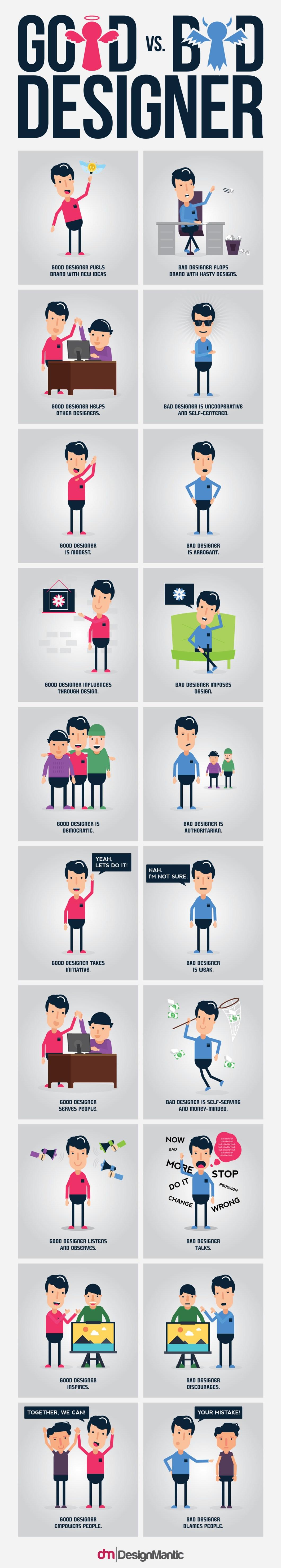 How to Tell a Good Designer Vs Bad Designer - Infographic
