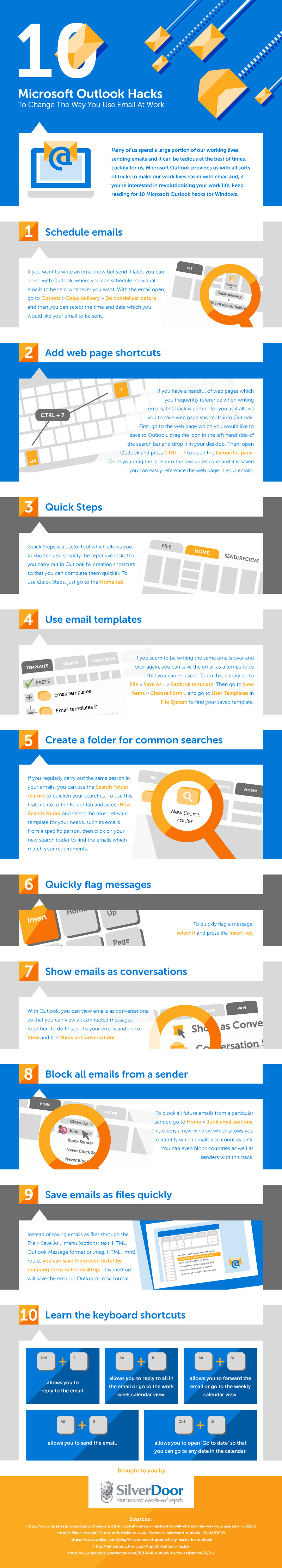 10 Amazing Hacks to Optimize How You Use Microsoft Outlook Email at Work - Infographic