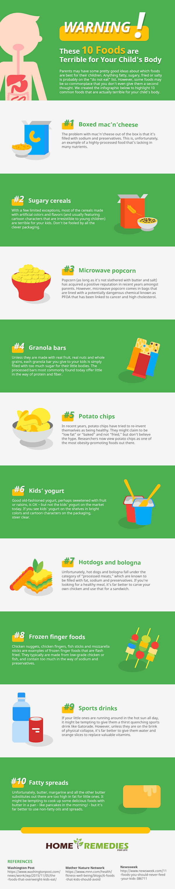 Kidz Diet Alert: 10 Foods That Won't Do Any Good to Your Child's Body - Infographic