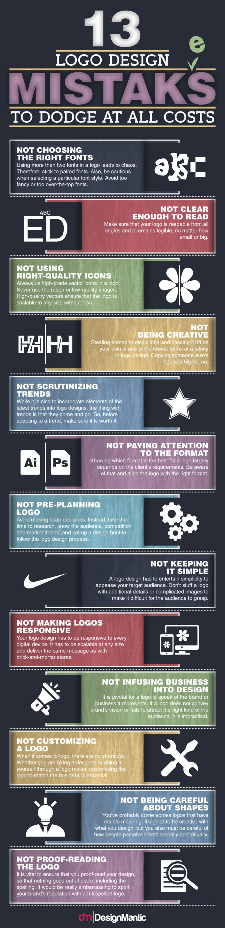 13 Pitfalls in Logo Design to Watch Out For - Infographic