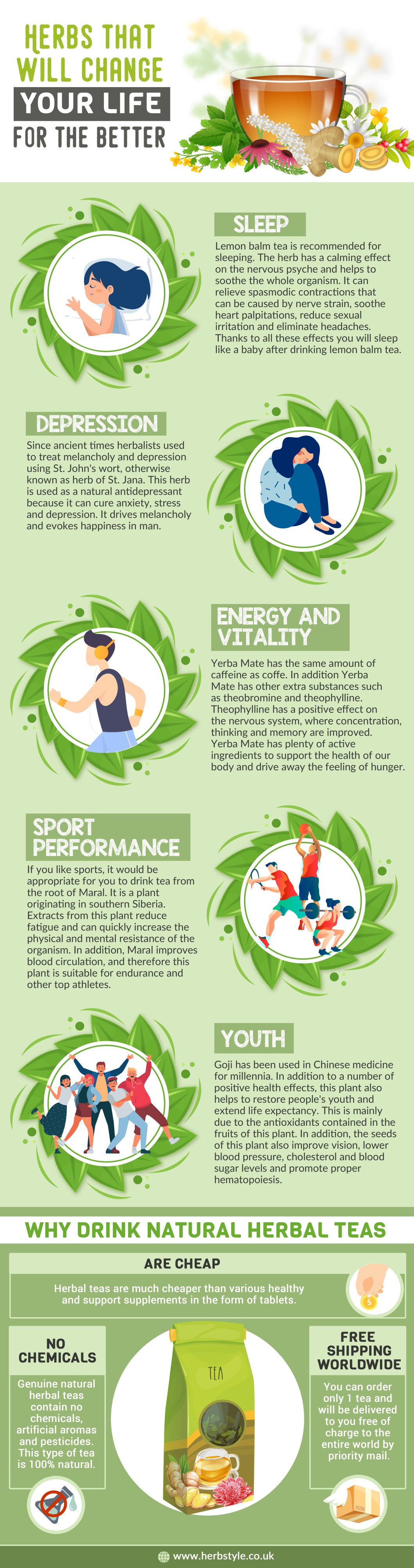 5 Herbs that Positively Impact the Quality of Life - Infographic