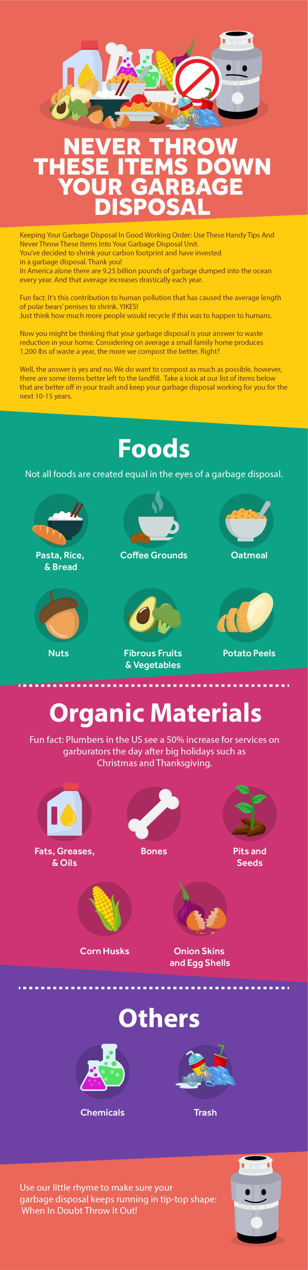 13 Foods You Must Never Throw into a Garbage Disposal Unit - Infographic