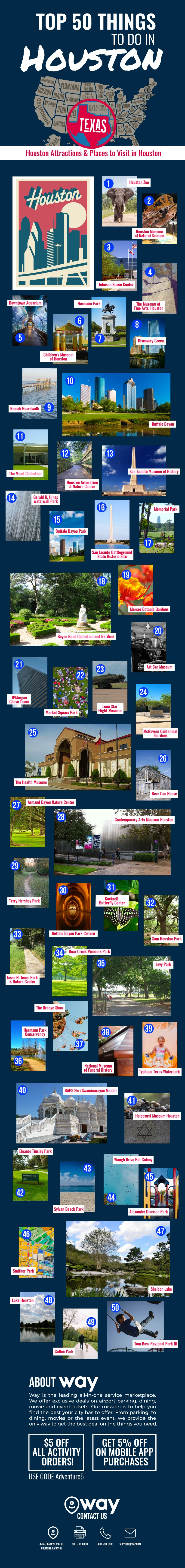 50 Must-Do Must-See Places in Houston - Infographic