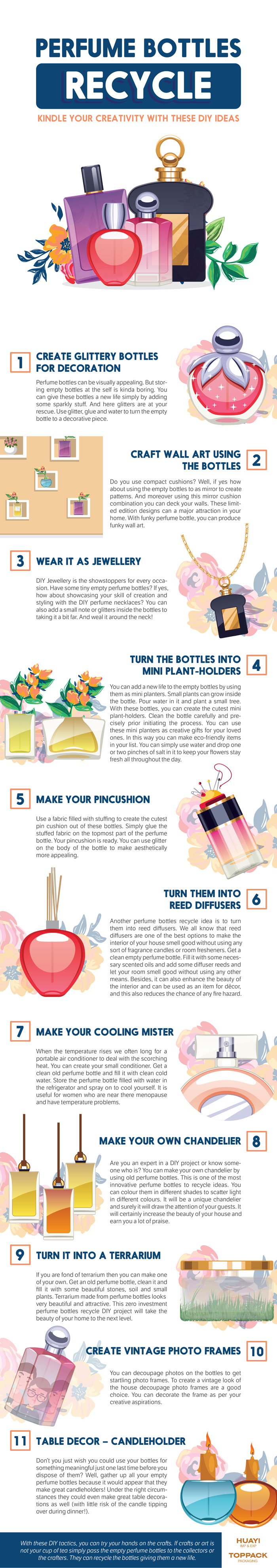 How to Recycle and Reuse Your Beautiful Perfume Bottles: 11 Fabulous DIY Ideas - Infographic