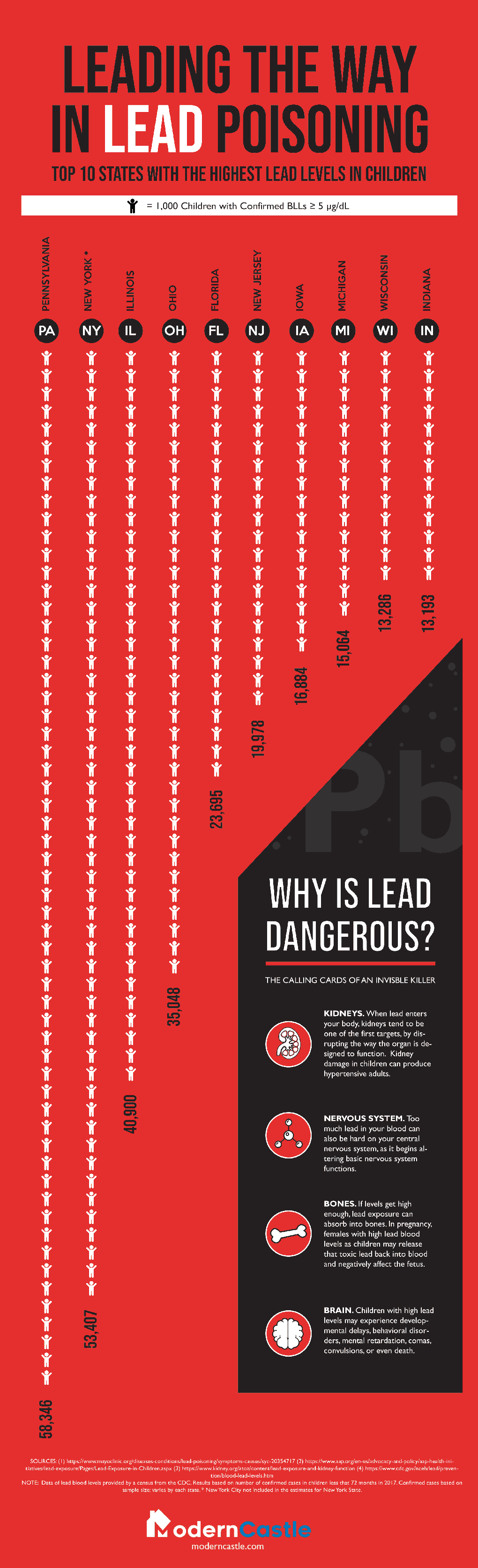 Lead Poisoning: Which US States Are Most Afflicted - Infographic