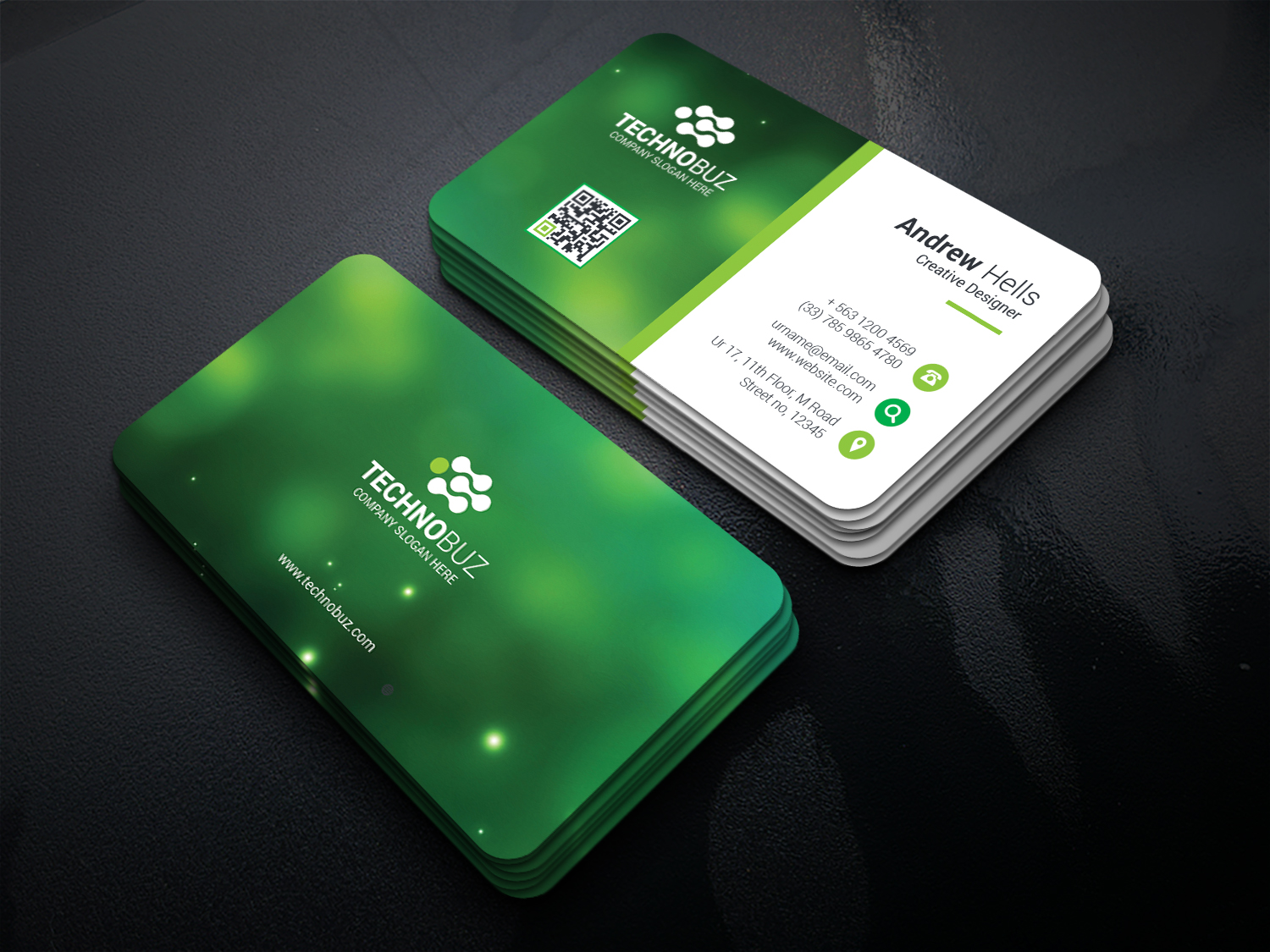 green technology business card template · graphic yard