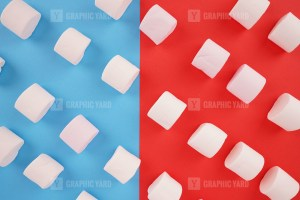 Pattern with marshmallow candies on colorful background