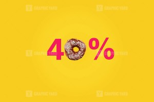 Forty percent made with number and donut