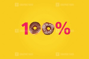 Hundred percent made with number and donut