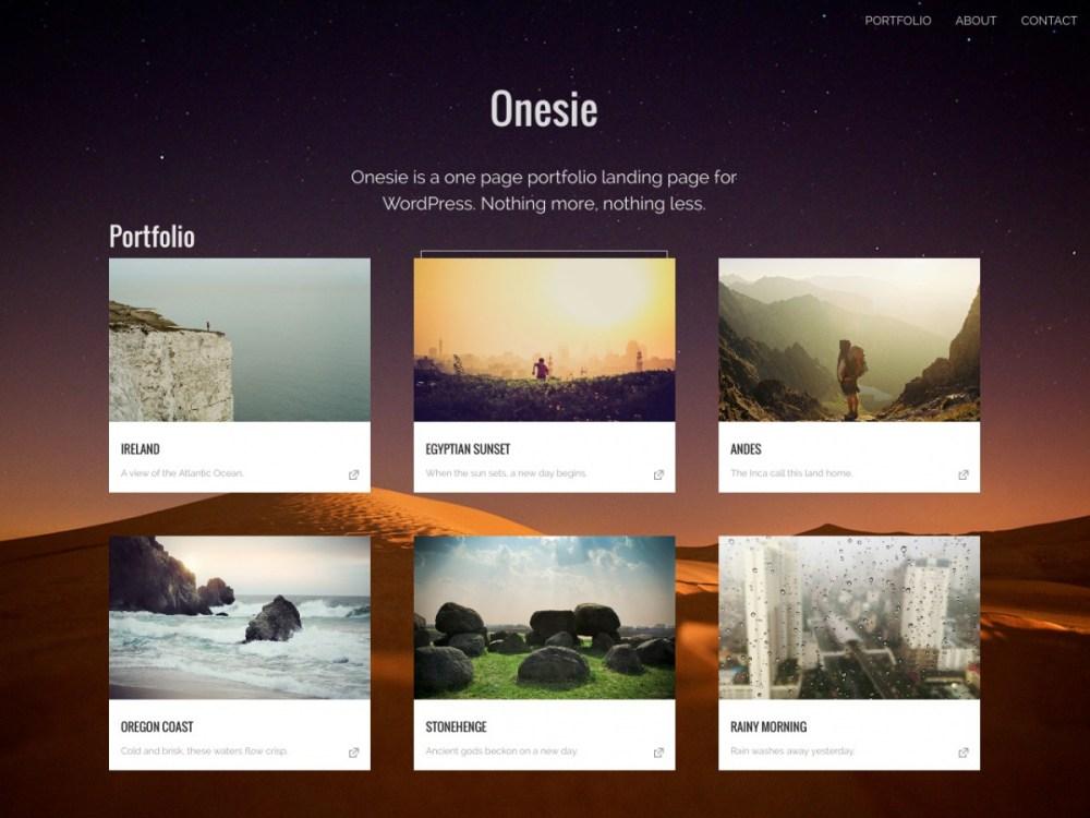 Onesie - One Page Portfolio WordPress Theme | Graph Paper Press