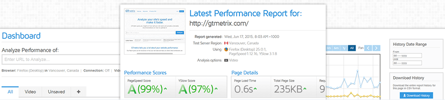GTmetrix screenshot