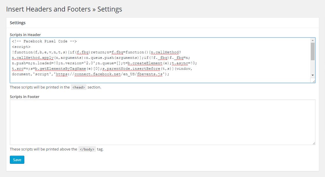 install pixel code to wordpress head