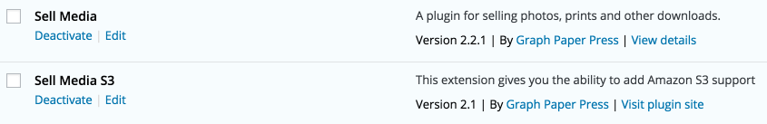 The WordPress plugins list, showing both Sell Media plugins installed.