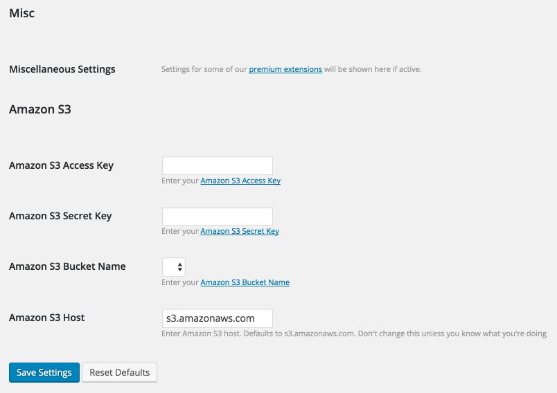 The Sell Media settings screen.