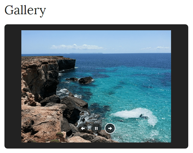 An example of a slideshow on a page.