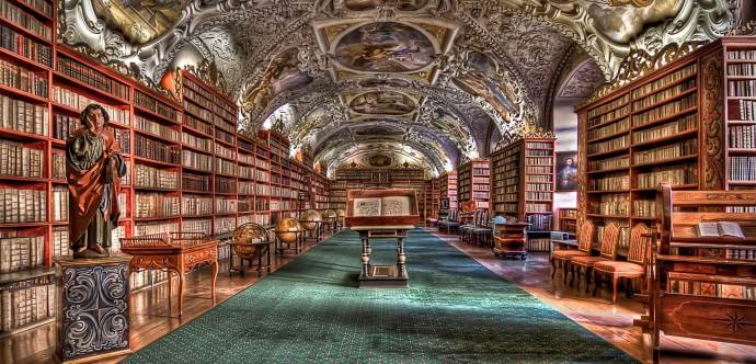 A grand library, filled with books.