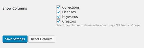 The Sell Media settings checkboxes for displaying keywords.