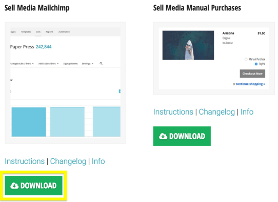 The Sell Media MailChimp extension's download button.