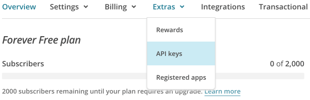 The API Keys menu.