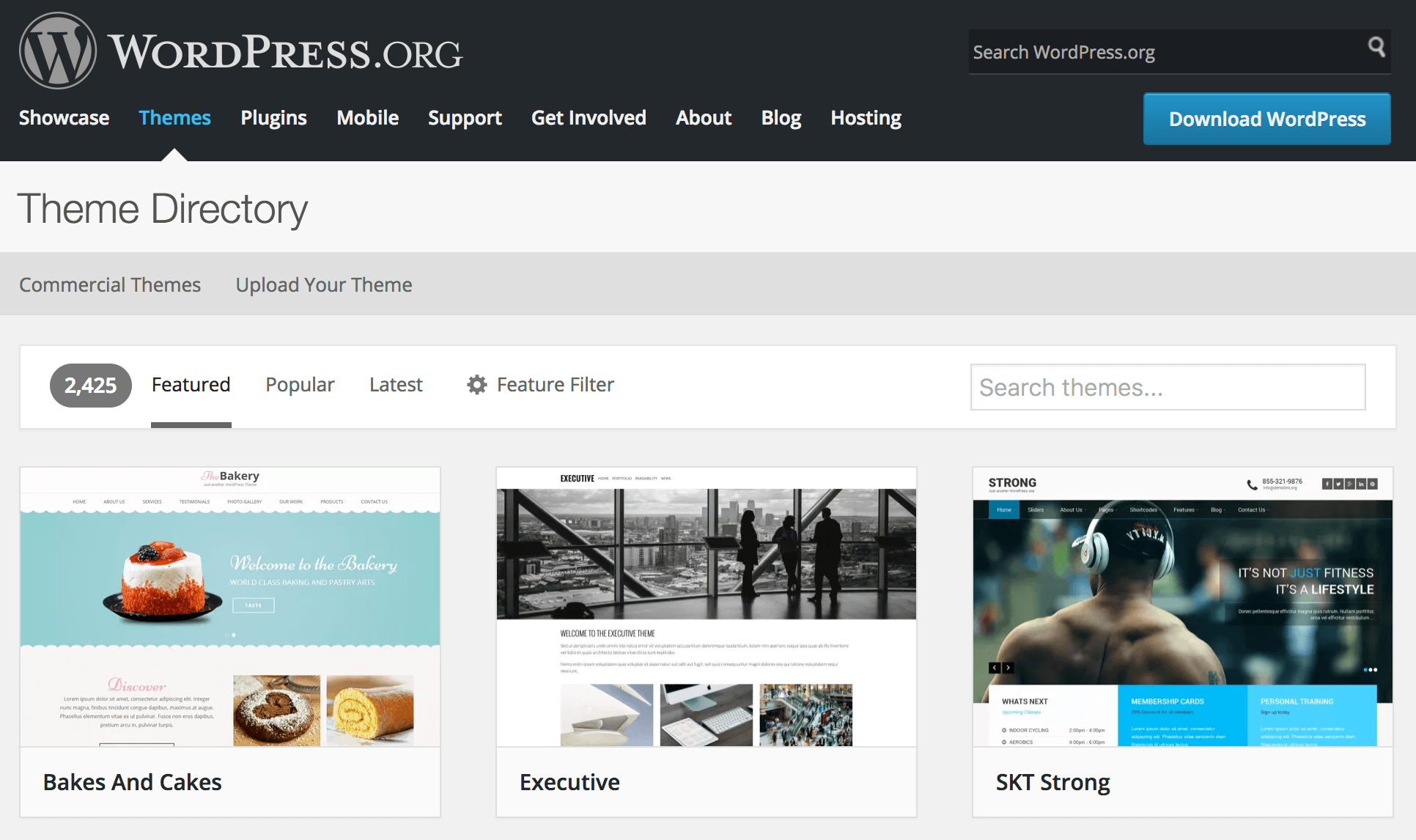 The WordPress.org Theme Directory.