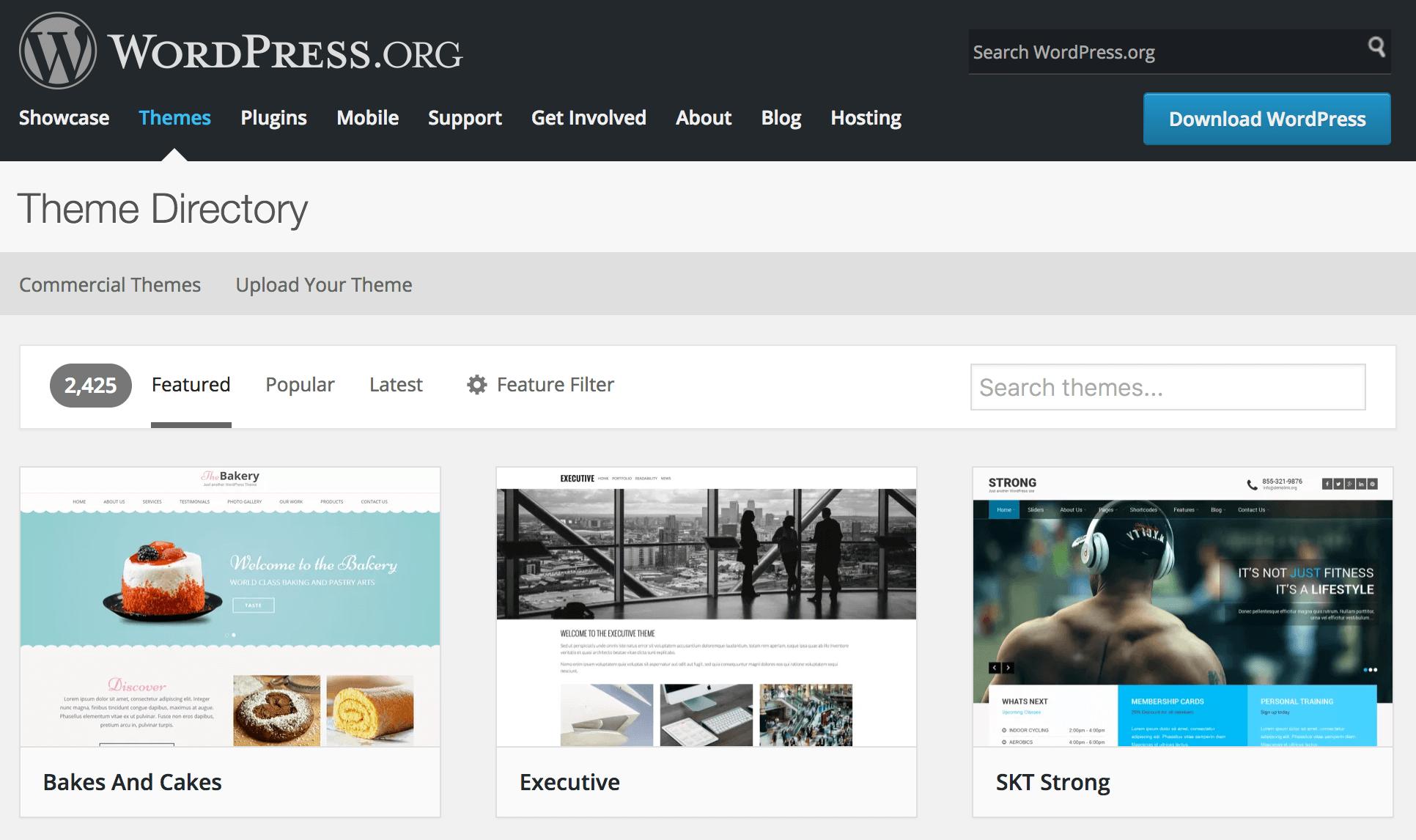 The WordPress.org Theme Directory.