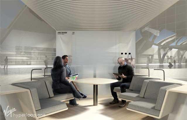 A rendering of a proposed Hyperloop pod. Virgin Hyperloop One