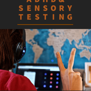 """A flyer for the new ADHD and Sensory tests, which reads, """"Now offering ADHD & Sensory Testing. Learn more at https://grasp.org/assessment-services/"""" In between the sentences in a photo of a person holding up their fingers in front of a computer while wearing headphones."""