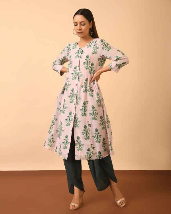 Model wearing a Cotton Silk Printed Full Set