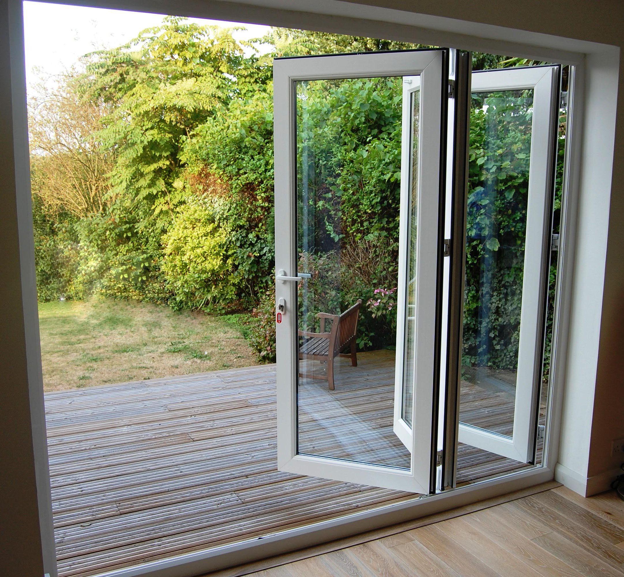 folding glass and plastic patio doors