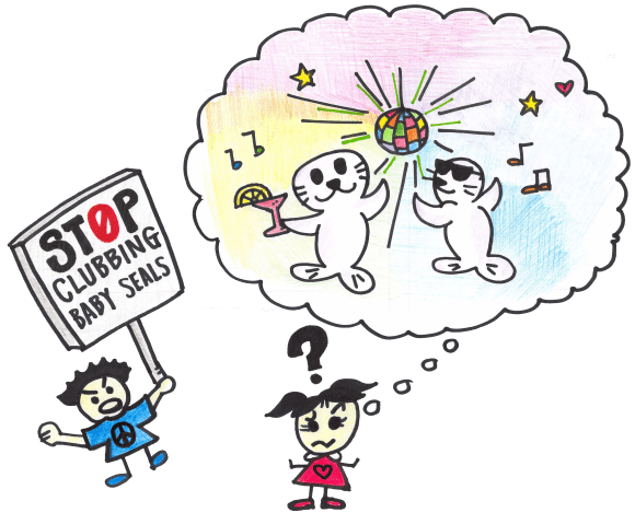 Comprehension test - stop clubbing baby seals - Illustration by Emily Chiu