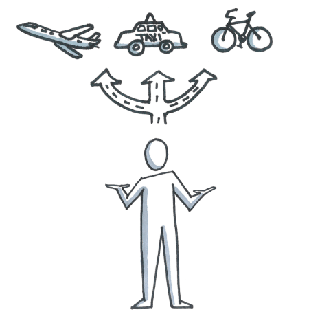 A person who has to make a decision whether he has to go by plane, taxi, or a bike