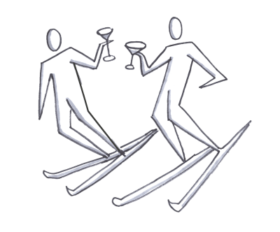 A couple skiing with martinis