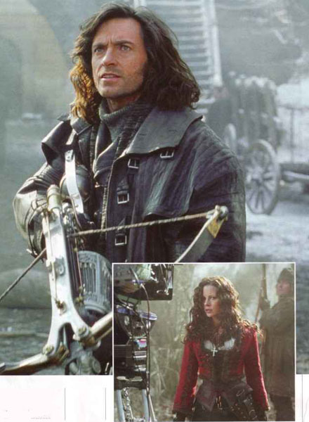HJ as the vampire hunter; costar Kate Beckinsale, inset