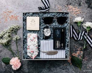 gift box for men beard kit floral tie sunglasses luxury watch comb pine soap grey towel