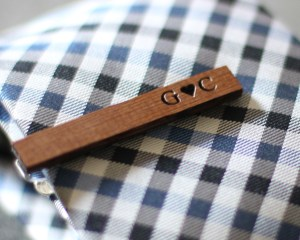 personalized tie clip tie bar wood engraved