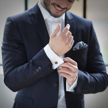 groomsmen wood cufflinks suit 2