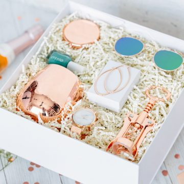 Rose Gold Gift Box wine tumbler marble watch earrings wine bottle opener sunglasses makeup mirror
