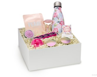bridesmaid gift box bachelorette face mask roller lotion sunglasses floral keychain pink bottle bath bomb pearl earrings