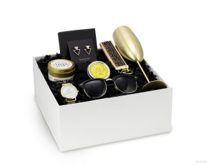 modern gift box bridesmaids champagne mimosa candle bee lotion black gold sunglasses earrings gold watch 2