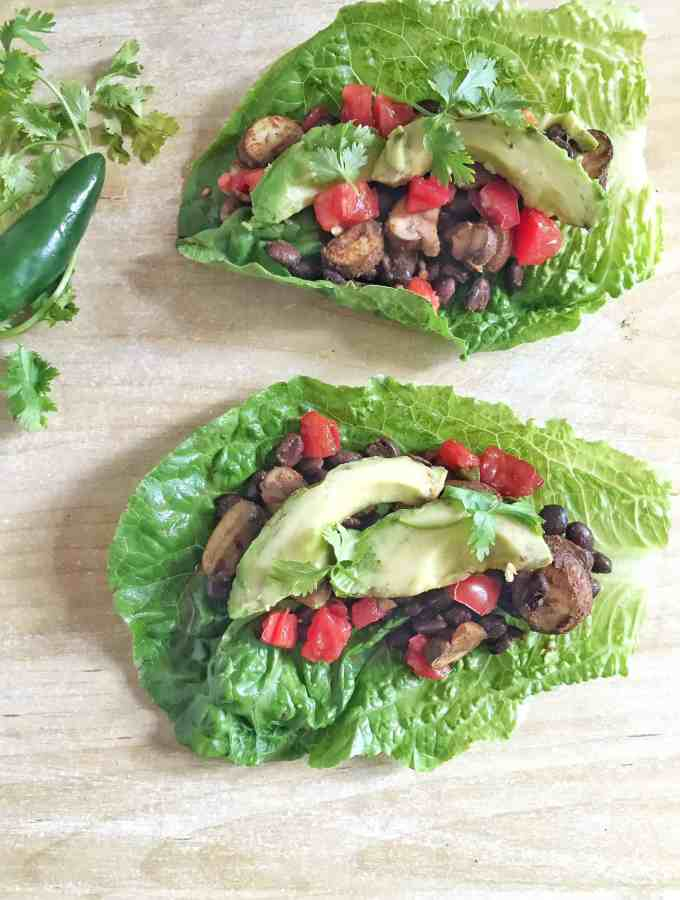 Spicy Black Bean + Mushroom Taco Lettuce Wraps