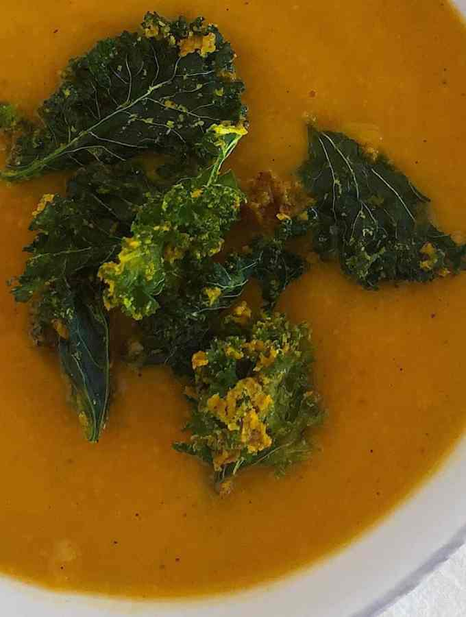 Butternut Squash Soup with Curried Kale Chips