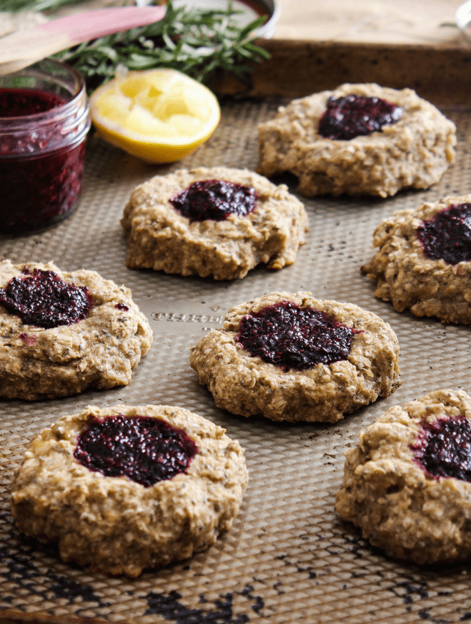 Whole Grain Thumbprint Cookies for Breakfast and Dessert