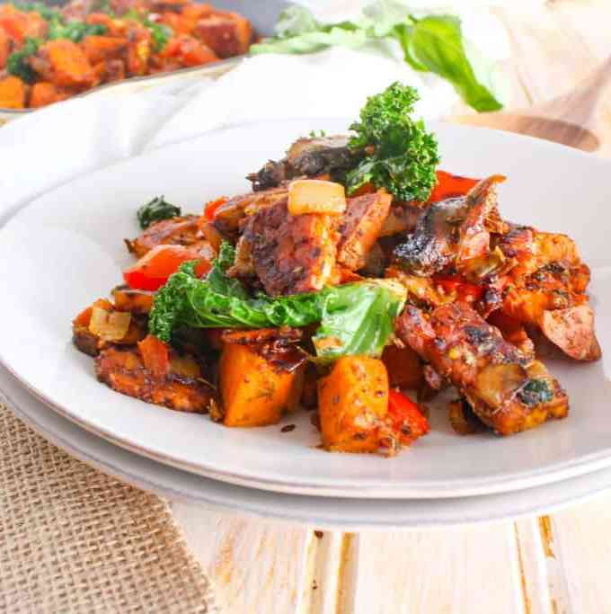 Spicy Tempeh Bacon Sweet Potato Hash