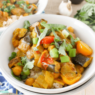 Homemade Roasted Eggplant Coconut Curry is simpler than you might think! Delicious recipe is dairy-free, vegan, plant-based and healthy.