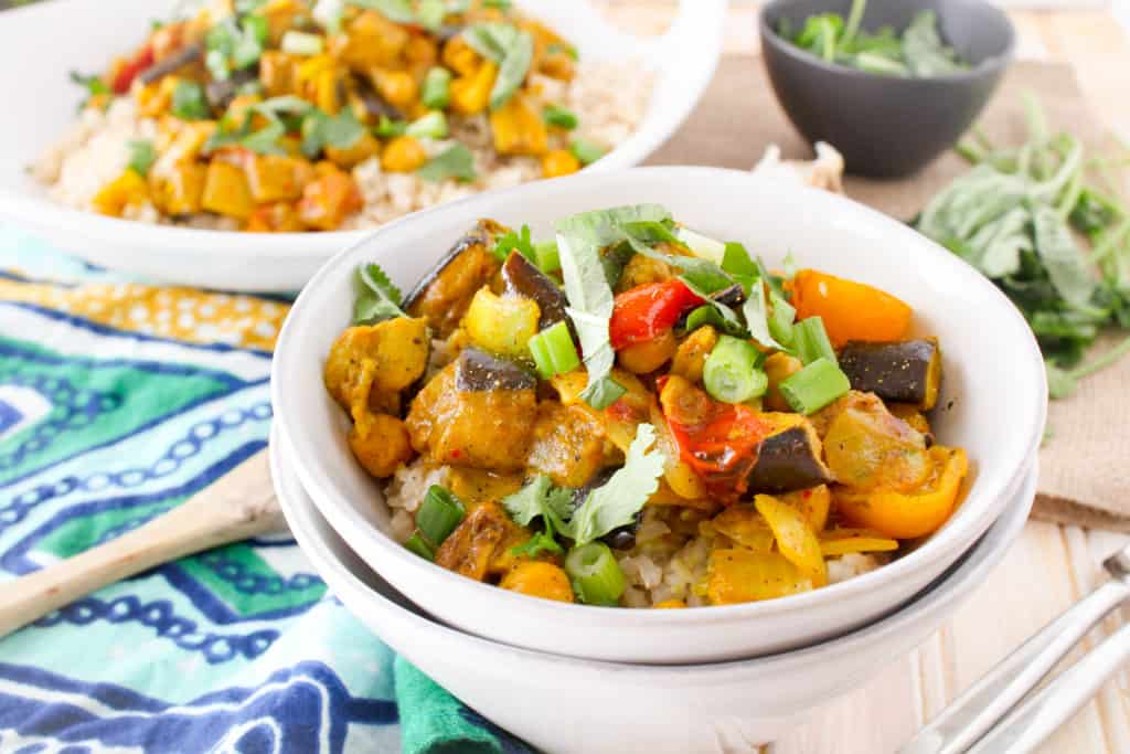 Homemade Roasted Eggplant Coconut Curry is simpler than you might think! This delicious recipe is dairy-free, vegan, and completely plant-based and healthy.