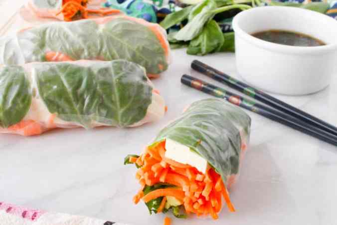 Sweet Potato Spring Rolls with Sesame Ginger Dipping Sauce by The Grateful Grazer.
